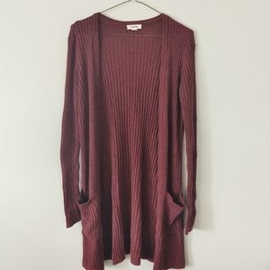 3/$20 - Garage Long Burgundy Cardigan